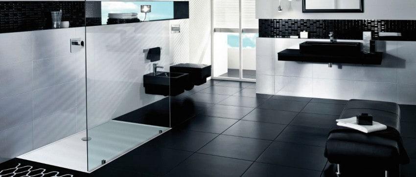 Salle de bains en noir et blanc | Receveurs de douche | Shower ...